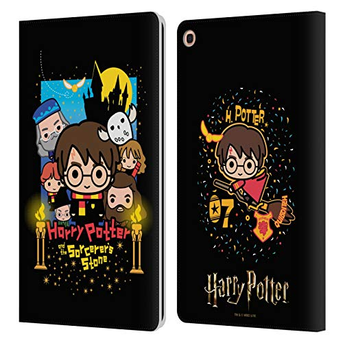 Head Case Designs Oficial Harry Potter Piedra Filosofal Deathly Hallows I Carcasa de Cuero Tipo Libro Compatible con Samsung Galaxy Tab A 10.1 2019