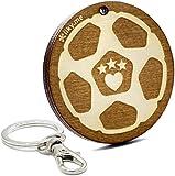 LIKY® Fussball – Schlüsselanhänger aus Holz graviert für Damen und Herren Fans von Sport Anhänger Glücksbringer Schmuck für Taschen und Rucksäcke Geschenk zum Geburtstag