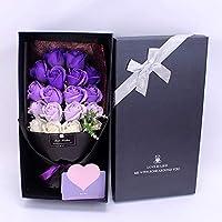 ソープフラワー バラ 花束 18輪 枯れない花 造花 ギフトボックス 母の日 バレンタインデー 誕生日 転居など最適としてのプレゼント メッセージカード付き (紫)