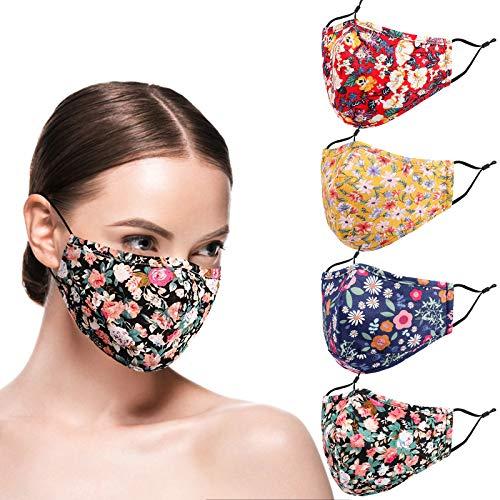 ZUXNZUX Wiederverwendbar Dust Face M, verstellbar Earloop M, Waschbar Atmungsaktiv Stoff Mund und Nasenschutz, GesichtsM aus Baumwolle, mit Staubfiltertasche (rot+gelb, Groß 5.9a x 9.45b)