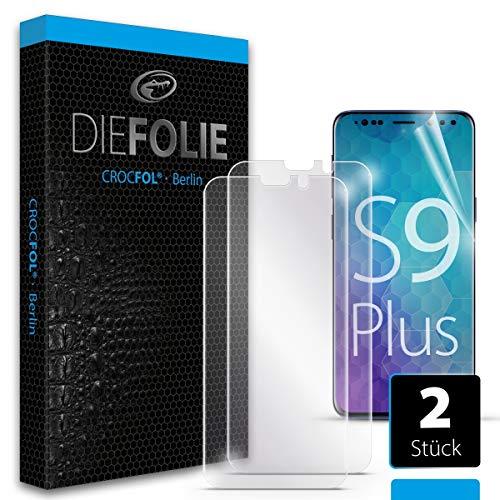 Crocfol Schutzfolie vom Testsieger [2 St.] kompatibel mit Samsung Galaxy S9 Plus - selbstheilende Premium 5D Langzeit-Panzerfolie - für vorne, ganzes Display