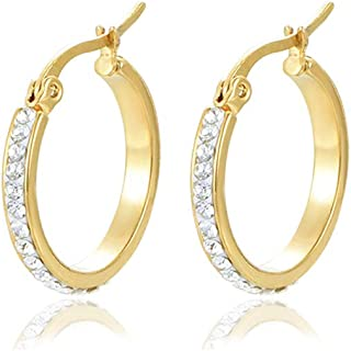 4b623b7c1 Yumay 9CT Yellow Gold Round Hoop Earrings With White Crystal for Women and  Girls(20MM