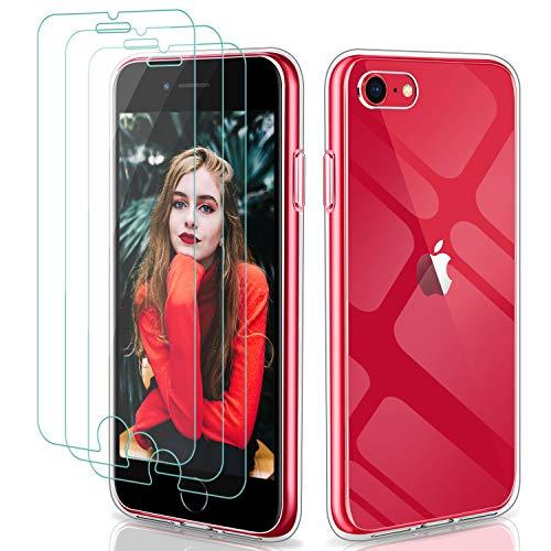 YNMEacc Cover Compatibile con iPhone SE 2020 Custodia e 3 Pezzi Pellicola Protettiva in Vetro Temperato, Ultra Sottile in Silicone Morbido Trasparente Cover