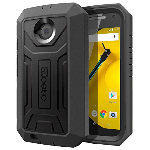 Moto E 2nd Gen Case - Poetic [Revolution Series] - [Heavy Duty] [Dual Layer] Complete Protection Hybrid Case with Built-in Screen Protector for Motorola Moto E 2nd Gen (2nd Generation 2015) Black