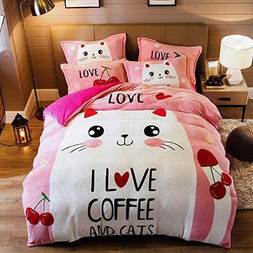 Warm Bedding Set,Cartoon Bedding Set Kids Fleece Warm Bed set,Bed linen Bedsheet Duvet cover Super King Bed dog 200 * 230cm(4pcs)
