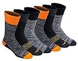 Dickies Men's Dri-tech Moisture Control Crew Socks Multipack, Hi-Vis Orange Black (6 Pairs), Shoe Size: 6-12