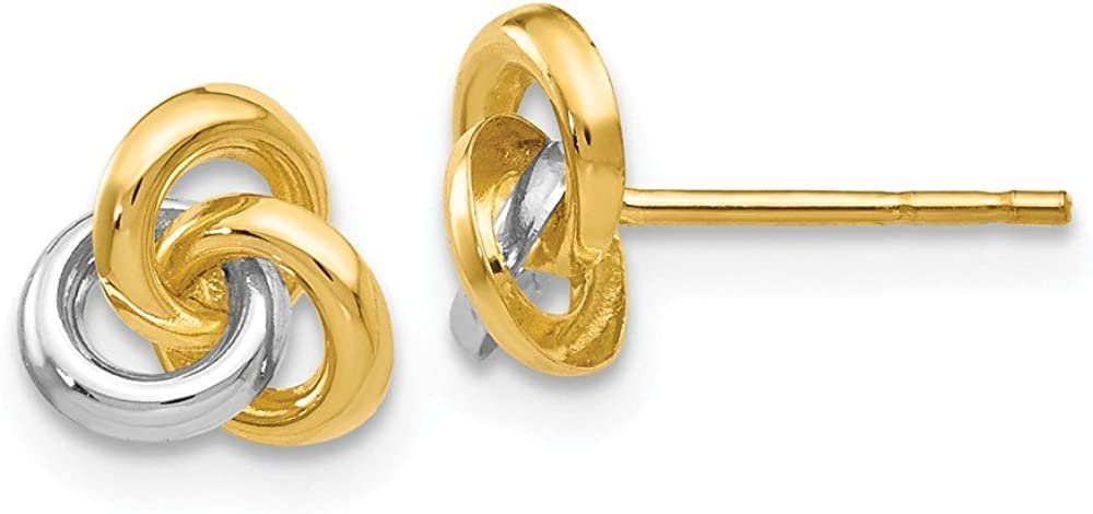 14k White and Yellow Gold Two Toned Trinity Irish Celtic Knot Studs Earrings 7mm