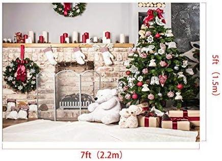 H W Christmas Tree Backdrop Photography White Brick Fireplace Newborn Christmas Photo Studio Background x2m Kate 10x6.5ft//3m
