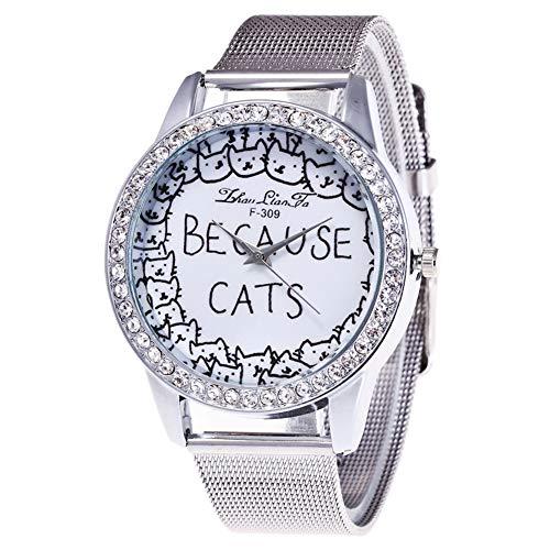Jingyuu Damen-Armbanduhr, Katze, niedlich, modisch, PU-Leder, Weiß, Geschenk für Geburtstag, Damen und Mädchen