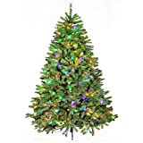 Hykolity 7.5ft Pre-Lit Christmas Tree, Artificial Xmas Tree with 500 LED Multicolor Lights, 10 Color Modes, 1400 Tips, Hinged Branches, UL Listed Lights