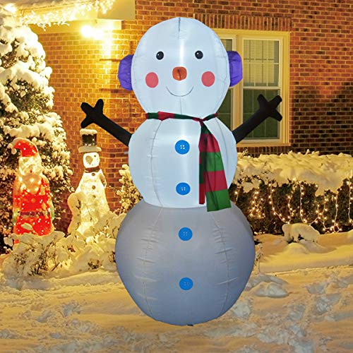 GOOSH 6Foot High Christmas Inflatable Snowman with Build-in LED Light Yard Decoration, Indoor Outdoor Garden Inflatable Christmas Decoration