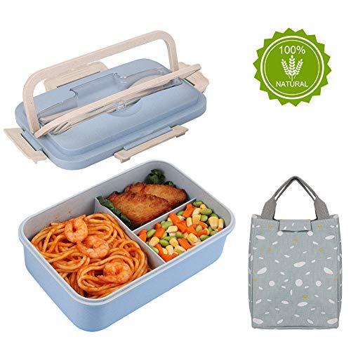 HALOVIE Lunch Box avec Sac Isotherme Repas Boîte Bento Box 3 Compartiments avec Couvert Boîte Repas Anti-Fuite Écologique Hermétique pour Enfant Adulte Passe aux Micro-Ondes et Lave-Vaisselle, Bleu