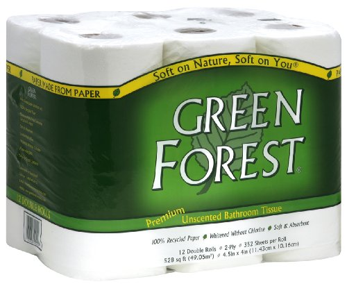 Green Forest Premium 100% Recycled Bathroom Tissue, 352 Sheets Each Roll, 12 Count (Pack of 4)
