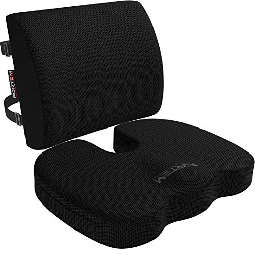 FORTEM Seat Cushion & Lumbar Support for Office Chair, Car, Wheelchair, Memory Foam Pillow, Washable...