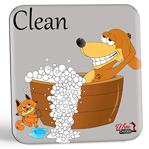 Dish Doggy Clean Dirty Dishwasher Magnet Sign -The Fun & Stylish Clean Dirty Dishwasher Sign Gift for Dog Lovers To Eliminate Dish Mix-ups Forever