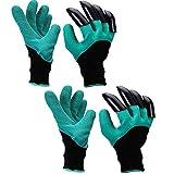 Gartenhandschuhe mit Klauen, 2 Paar Wasserdicht Langlebig Stichsichere Safe Gartenarbeit Handschuhe, Graben Garten Arbeitshandschuhe für Haushalt und Garten Pflanz Werkzeug Handschuhe
