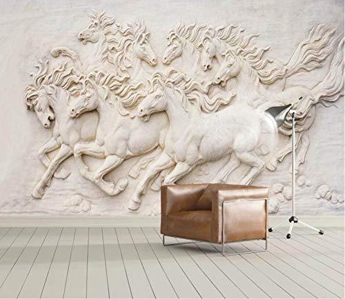 BHXIAOBAOZI Behang Custom Wallpaper 3D groot landschap Europese acht paarden achtergrond muurschildering moderne decoratie Hd Kunstdruk Poster Afbeelding Foto voor woonkamer wanddecoratie 480cm(W)×290cm(H)|15.74×9.51 ft