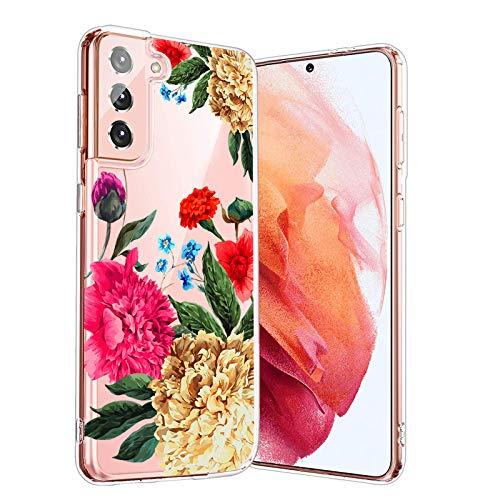 58I Handytasche-Klare-Tasche-Samsung Galaxy-S21 Plus,Durchsichtig-Blume-Motiv-Süße-Blumen-Bunt-Hülle-Blumen-Hülle,Blumen-Bumper-Hülles-TPU-Schutzhülle-Tasche,für-Samsung Galaxy-S21 Plus-24
