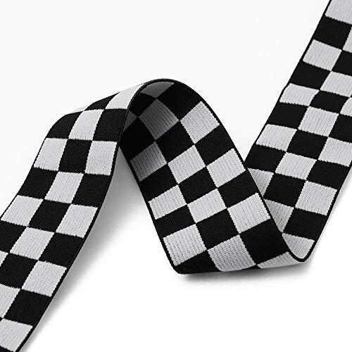 4-Yards 40mm(1-5/8') Checkerboard Elastic Stretch Ribbon Trim, Black/White, TR-12019