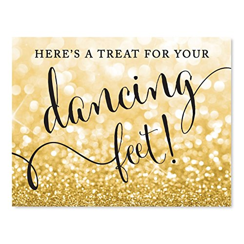 Andaz Press Wedding Party Signs, Glitzy Gold Glitter, 8.5x11-inch, Here's a Treat for Your Dancing Feet! Flip Flop Sandals High Heels Shoes Dance Floor Reception Sign, 1-Pack, Bokeh