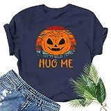 Rugby clothing boutique Q Mignon féminin Graphique Pumpkin Head Smiley Imprimer T-Shirt de Citrouille de Halloween d'amusement Top Teen Girl Tee (Color : Dark Blue, Size : L)