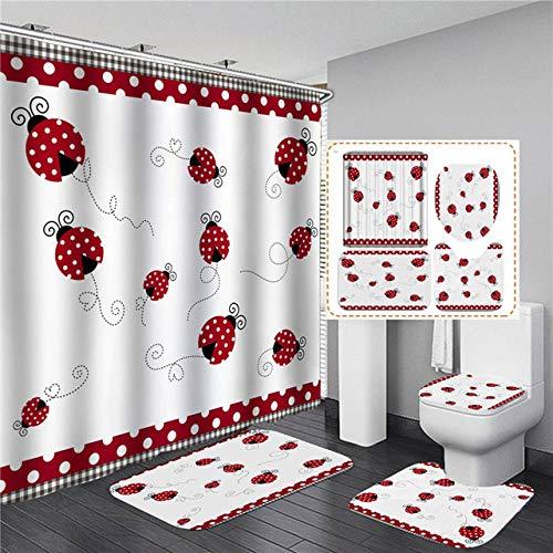 BGVDF 4Pcs Shower Curtain Set Wooden Barn Shower Curtain Fabric Shower Curtain With Non-Slip Rug, Toilet Lid Cover, Bath Mat And 12 Metal Hooks For Bathroom,Seven-Star Ladybug