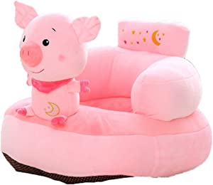 Fengbingl-bb Baby Support Sofa Infant Sitting Chair Baby Support Seat Stuffed Cartoon Pig Animal Cushion Plush Toys Toddler Sofa Protector Couch Bed Children Sofa Backrest Chair Baby Sitting Chair