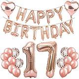 Feelairy 17 Cumpleaños Globos Decoración Oro Rosa, Globo Carta Happy Birthday Banner, Globos de Aluminio Gigante Número 17 y Corazón Globos, 17 Años Fiesta de Cumpleaños para Niña