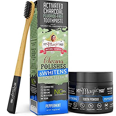 My Magic Mud - Activated Charcoal Teeth Whitening Kit, Toothpaste, Tooth Powder & Bamboo Toothbrush, Clinically Proven (Peppermint)
