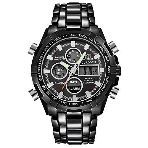 UINGKID Collection Unisex-Armbanduhr Herren Uhren Ultra Dünne Mann-Edelstahl-Sportuhr-Doppelanzeige-analoge Digital-LED Armbanduhren