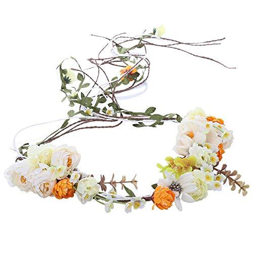 AWAYTR Boho Braut Blume Girlande Stirnband - Frauen Mädchen Einstellbare Baum Rattan Blatt Floral Haar Kranz Hochzeit Fotografie Dekoration (Beige-1)