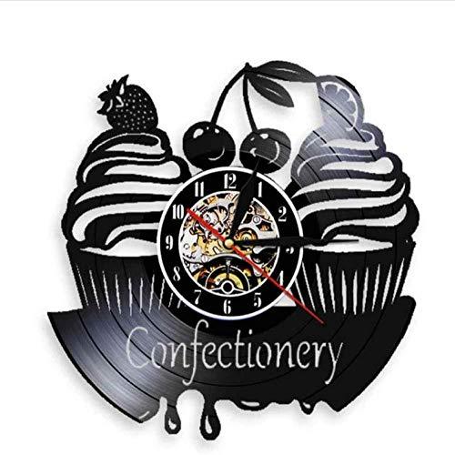 syssyj Orologio da Parete per Pasticceria Confetteria Moderna Orologio da Parete Dolci Cupcake Vinile Orologio da Parete Orologio da Forno Torta di Ciliegie Orologio Decorativo