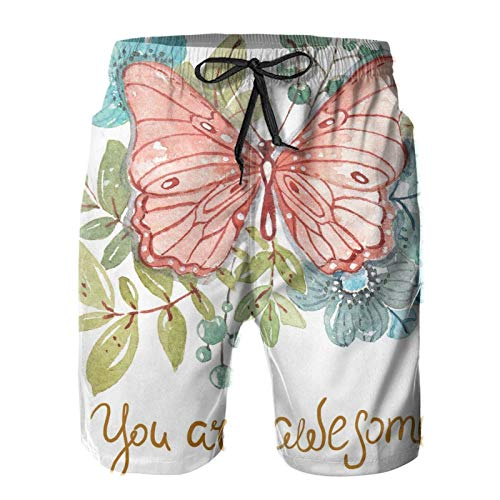 Nixboser Watercolor Beautiful Butterfly You are Alsome - Bañador corto para hombre, secado rápido, transpirable, forro de malla