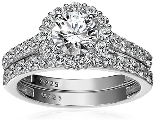 Platinum-Plated Sterling Silver Flower Halo Ring set with Swarovski Zirconia (2.9 cttw), Size 9