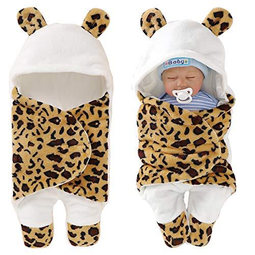 Haokaini Manta de invierno para bebé recién nacido, unisex, bolsa de dormir, manta para recibir saco de dormir, forro polar de algodón para cochecito de cuna (0-4 meses, amarillo)