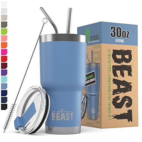 Greens Steel New Beast Tumbler Edelstahl Vakuum Isoliert Rambler Kaffee Tasse Doppelwandige Reise Fläschchen (30oz, Stürmischer Himmel)