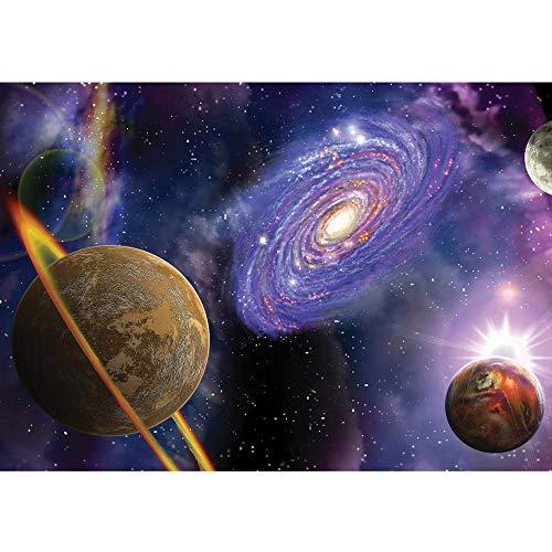 Vlies Fototapete 350x245 cm PREMIUM PLUS Wand Foto Tapete Wand Bild Vliestapete - Sternenhimmel Tapete Weltraum Weltall Galaxie Planeten Erde Staurn Sterne lila - no. 905