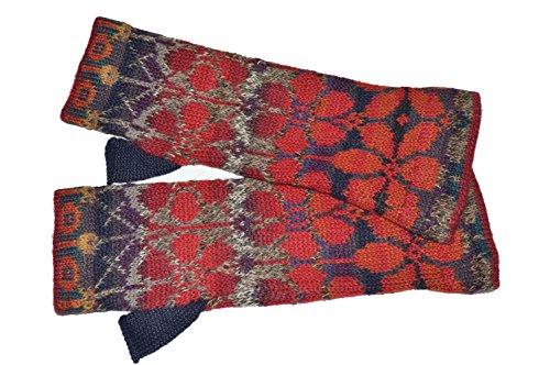 Invisible World Damen 100% Alpaka fingerlose Handschuhe – ideale Halbfinger Winter Strickhandschuhe – Sommer Rot