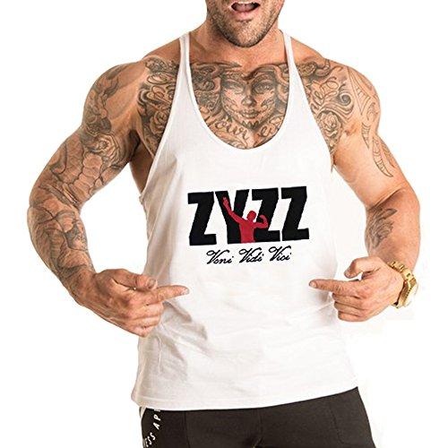 Alivebody Männer Gym Sleeveless Shirt Tank Top T-Shirt Bodybuilding Sport Weste Weiß M