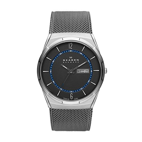 Skagen Men's Melbye Quartz Analog Stainless Steel and Stainless Steel Mesh Watch, Color: Gray & Blue Steel Mesh (Model: SKW6078)