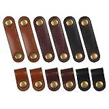 Matogle Set 12 Pcs Fascette in Pelle kit Organizer per Cavi Portacavo per Cuffie Clip per ...