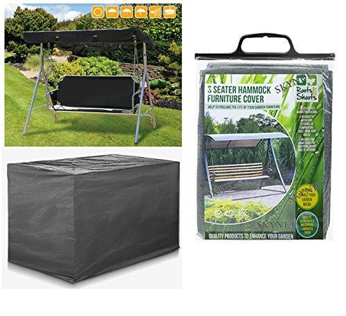 Heavy Duty Woven Polyethylene Waterproof 3 Seater Swinging Garden Hammock Cover In Dark Grey