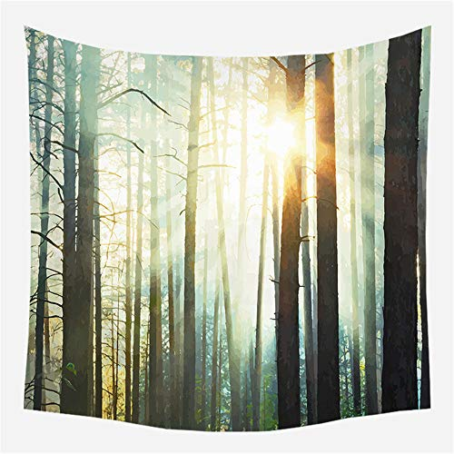 Tapiz de Pared Bosque psicodélico 17 Tapiz Decoración del hogar para Dormitorio Sala de Estar 150cm X 150cm
