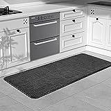 Color&Geometry Tappetino da cucina 44x150cm. Tappeto cucina antiscivolo lavabile, runner da cucina, Tappetini aspiranti antiscivolo utilizzabili in cucina e in sala da pranzo (Nero)