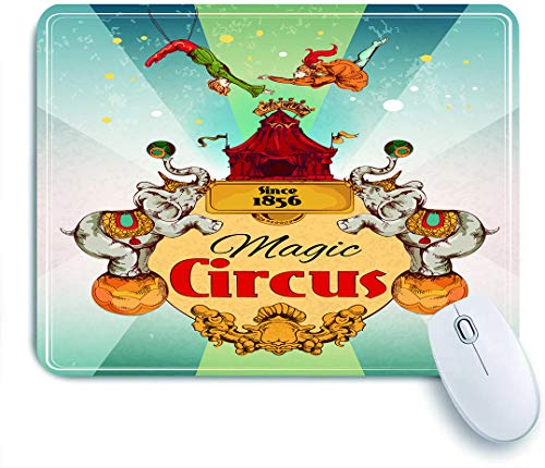 QINCO Gaming Mouse Pad,Magic Travelling Zirkus Zelt fantastische Show Ankündigung Vintage Poster mit Elefanten und Aerialist Akrobat Leistung,für Computer Laptop Office Desk,240 x 200mm