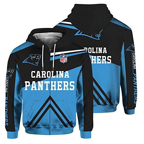 QWEIAS Sudadera con Capucha para Hombre - NFL Carolina Panthers Fans Casual Unisex Zipper Sweater Pullover 3D Printing Spring Autumn Chaquetas de Manga Larga XXL