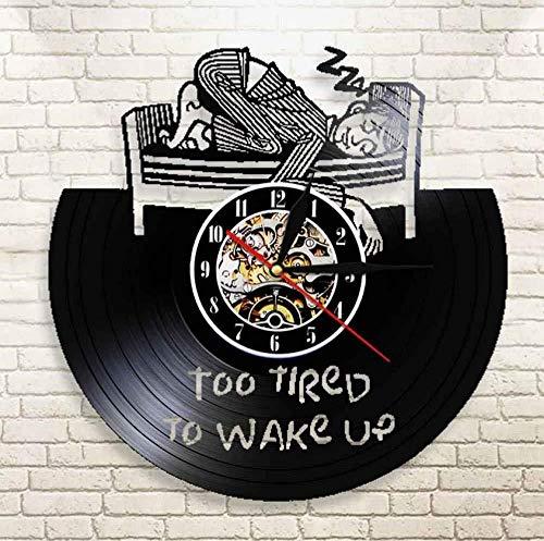 Liafa Zu Müde Vom Aufwachen Der Wanduhr Mit Motivierendem Zitat-Wecker-Vinylwanduhr-Ermüdungs-Ausdruck-Uhr-Dekor