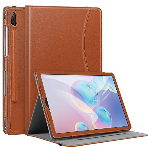 Ztotops Case for Samsung Galaxy Tab S6 10.5, Premium Leather Business Stand Folio Cover with Pencil Holder,Multi-angle,Auto Wake/Sleep Function for Samsung S6 10.5 Inch 2019 Released,Brown