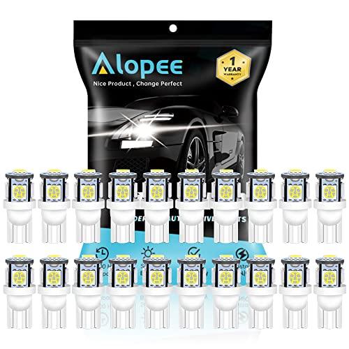 ALOPEE --- (Paquete de 20) Lámpara de Repuesto de Iluminación Interior LED Blanca para Stock # 194/168/2825/501 / W5W Luz de Matrícula de Maletero con Domo de Mapa, con 5 Piezas 5050 Chips, DC 24V.