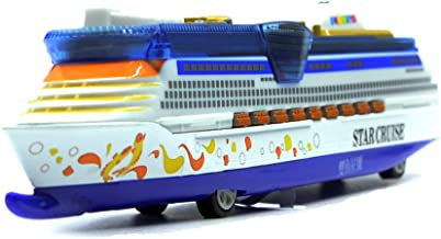 Ailejia 1:1000 Alloy Cruise Ship Models Back to Power Functions Boy Toy Music, Lights, Yacht Model (Blue 1)